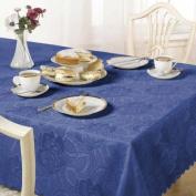 Damask Rose Tablecloth, Sax Blue, 178cm Round Diametre