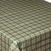 Green Sweetheart Cheque EasyWipe PVC Vinyl Tablecloth - Size 140cm x 200cm
