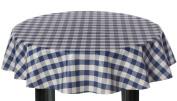 Round Vinyl Tablecloth 137cm Blue Gingham Cheque design