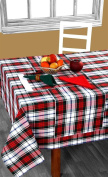 Homescapes - Christmas - Tablecloth - Macduff Tartan Cheque - X Mas design - 137cm x 178cm - 100% cotton - White Green and Red Colour - Washable at Home