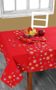 Homescapes - Christmas - Tablecloth - Red Snowflake - X Mas design - 137cm x 178cm - 100% Cotton - White Green and Red Colour - Washable at Home