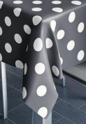 140x140cm SQUARE PVC/VINYL TABLECLOTH - DARK GREY & WHITE POLKA DOT