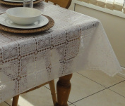 132x132cm SQUARE PVC COATED WHITE LACE TABLECLOTH