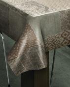 140x140cm SQUARE PVC/VINYL TABLECLOTH - GREEN TEA & OATMEAL WEAVE DESIGN