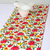 Grehom Table Runner - Blossom; 100% Cotton Table Runner; Hand Printed Table Linen; Size 180cm x 35cm; Beautiful Wedding Gift