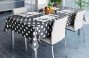 140x200cm OBLONG PVC/VINYL TABLECLOTH - DARK GREY & WHITE POLKA DOT