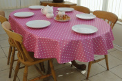 140x200cm OVAL PVC/VINYL TABLECLOTH - PINK POLKA DOT - 6 SEATER