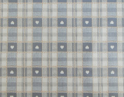 140x200cm OVAL PVC/VINYL TABLECLOTH - GREY & CREAM cheque WITH HEARTS