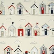 THE TABLECLOTH SHOP Beach Huts Cream Oilcloth Wipe Clean Tablecloth 1.3m Round