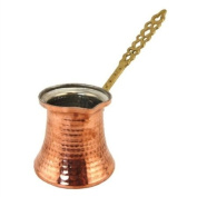 Turkish Copper Coffee Pot with Metal Handle - Large Size 3 Cups