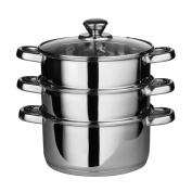 Premier Housewares 3 Tier Steamer with Glass Lid, 27 cm, Stainless Steel