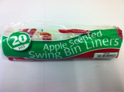 20 APPLE STRONG FRAGRANCED SWING BIN LINERS BAGS. TIE HANDLES. RECYCLED.