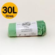 30 Litre x 25 bags Compostable Bags - Biobag Kerbside Food Waste Caddy Liners - EN 13432 - Biobags 30L Bin Bags with Composting Guide