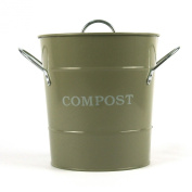 Metal Kitchen Compost Caddy (Gooseberry Green colour) & Composting guide - Composting Bin for Food Waste Recycling