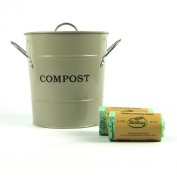 Metal Kitchen Compost Caddy (Clay colour) & 60x 6L Biobags & Composting guide - Composting Bin for Food Waste Recycling