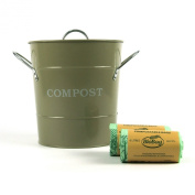 Metal Kitchen Compost Caddy (Goosebery Green colour) & 60x 6L Biobags & Composting guide - Composting Bin for Food Waste Recycling