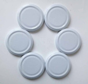 6 White Jam Jar Lids, 58mm