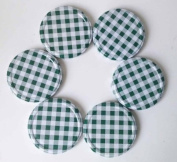 6 Green Gingham Jam Jar Lids, 82mm