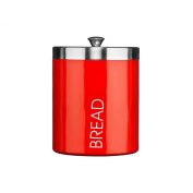 Enamel Bread Bin Acero Red Made Of Stainless Steel With Lid and Trim