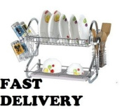 2 TIER DISH RACK IN CHROME AND WHITE DRIP TRAY