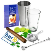 Boston Cocktail Shaker Set by bar@drinkstuff   Cocktail Kit in Recyclable Gift Box, Contains Professional Boston Cocktail Shaker Tin & Glass, 150 Party Drinks Book, Twisted Mixing Spoon, Cocktail Muddler & Hawthorne Cocktail Strainer