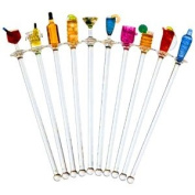 Happy Hour Acrylic Swizzle Sticks - Pack of 10 | Drinks Stirrers, Novelty Cocktail Stirrers | Swizzle Sticks Topped with Colourful Bar Accessories