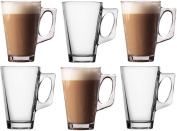 Pack of 6 Latte Glasses - Glass Cups Mugs for Coffee or Tea - 250ml - 11cm tall