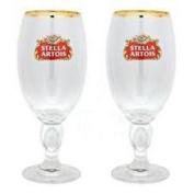 STELLA ARTOIS CHALICE PINT GLASS X 2.