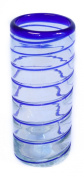 Blue Spiral recycled and fairly traded handblown hi-ball glass set of 2