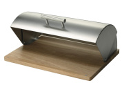 Zeller 20475 Bread Bin 39x29x17 cm Stainless Steel and Rubber Plant Wood