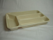4 Section Plastic Cutlery Tray Oatmeal Home Kitchen Drawer Storage Organiser