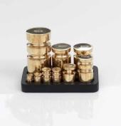 Robert Welch Designer Churn Kitchen Weights (Metric) with Cast Iron Stand, Brass