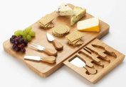 Occasion Large Rectangular Bamboo Cheese Board with integrated drawer and 4 Specialist Cheese Knives