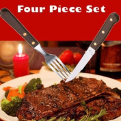 Restaurant Quality 4 Piece Steak Knife and Fork Set with Wood Handles and Stainless Steel Blades & FREE UK Delivery