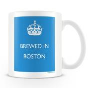 White Ceramic Mug with 'Brewed In Boston' Logo.
