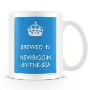 White Ceramic Mug with 'Brewed In Newbiggin -by-the-sea' Logo.