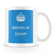 White Ceramic Mug with 'Brewed In Soham' Logo.