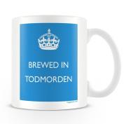 White Ceramic Mug with 'Brewed In Todmorden' Logo.