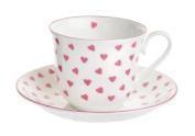 Nina Campbell Bone China Tea Cup & Saucer Pink Hearts