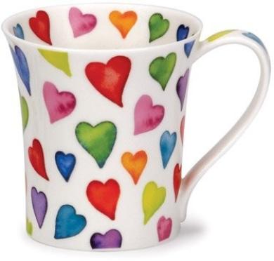 Dunoon bone china mug with warm hearts design in Jura shape