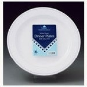 White and Silver Premium Range 25cm Plastic Plates with Rim - Pack of 6