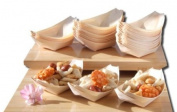 Bamboo Wood Boats x100 for party foods, snacks, nibbles, canapé 115X75mm