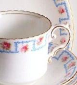 Aynsley A260 Pink Rose Blue Rim Milk Jug