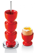 Stack of 4 melamine egg cups on a stainless steel stand