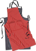 Butchers Striped Cotton Kitchen Apron With Pocket, Navy or Red With White Stripe