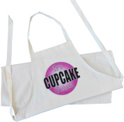 It's Cupcake O'Clock design (pink) - Adult Apron - Natural (Cream) Cotton Drill