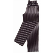 Chef Works A940-M Easy fit Pants, Unisex, Stripe, Medium, Black and White