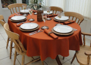 140cm x 198cm BURNT ORANGE CHRISTMAS OVAL TABLECLOTH