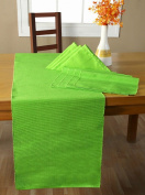 Homescapes - 4 Placemats 1 Table Runner and 4 Napkins Set - Lime Green - 100% Cotton -Hand Woven- Easy Care - Washable at 60 Deg C