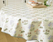 William Morris Licenced Design Lily Floral 137cm Round Pvc / Oilcloth Coated Wipe Clean Tablecloth